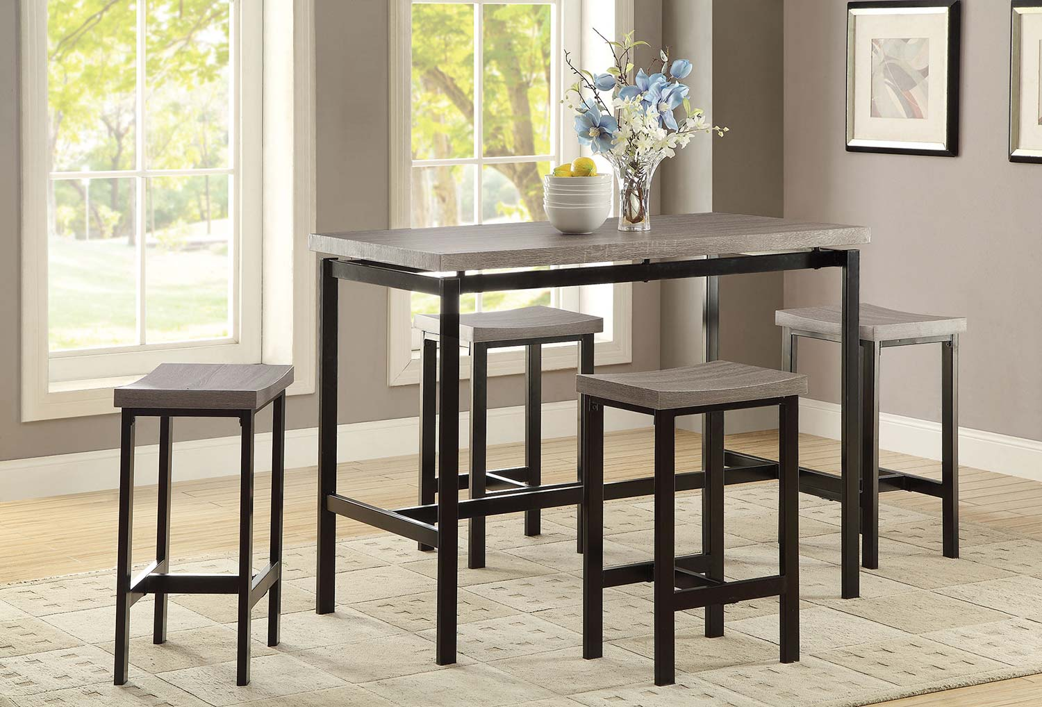 Coaster 150024 5 PC Counter Height Dining Set - Gunmetal