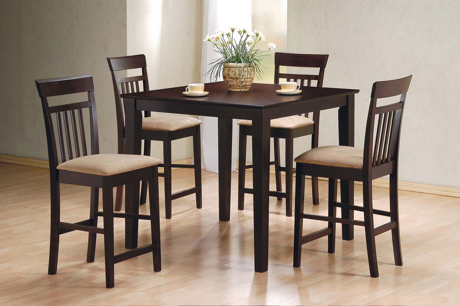 Coaster 150041 5pc Counter Height Dining Set Cappuccino 150041 At Homelement Com