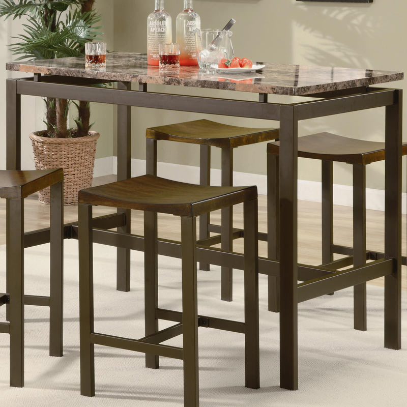 Coaster Atlas 5 Piece Counter Height Dining Set - Brown With Marble Like Top