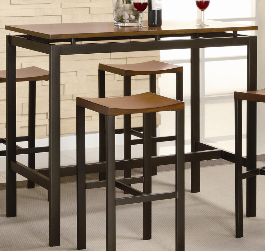 Coaster Atlas 5 Piece Pub Height Dining Set - Black With Oak Top