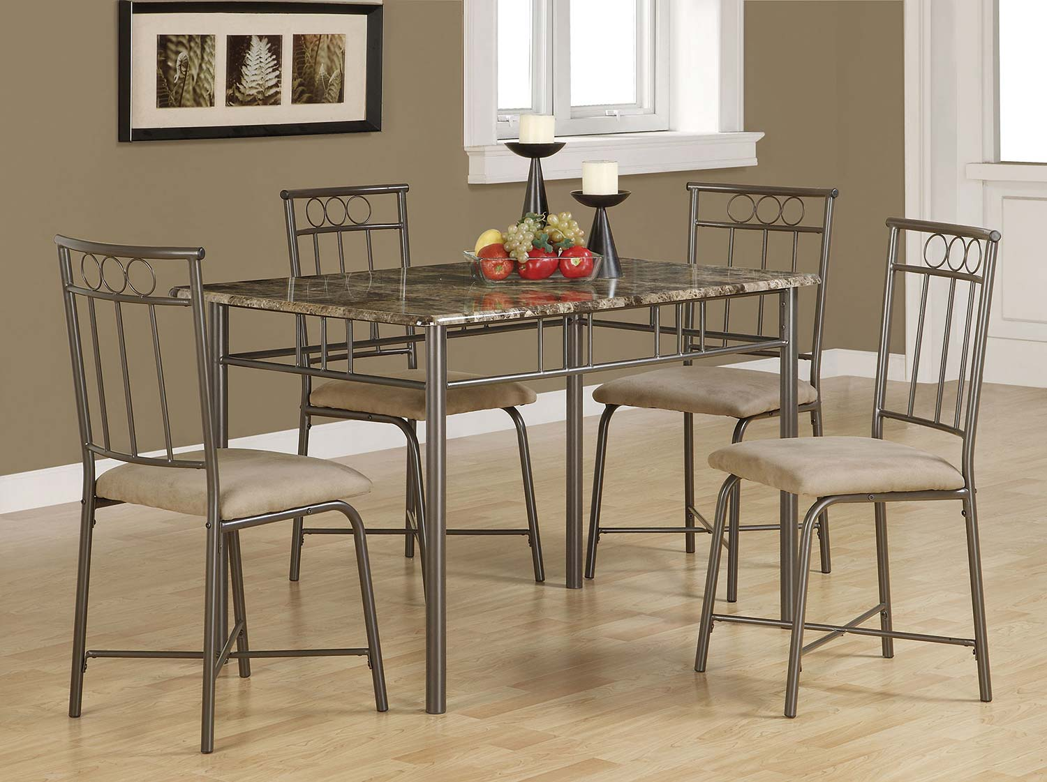 Coaster 150114 5 PC Dining Set - Brown Metal