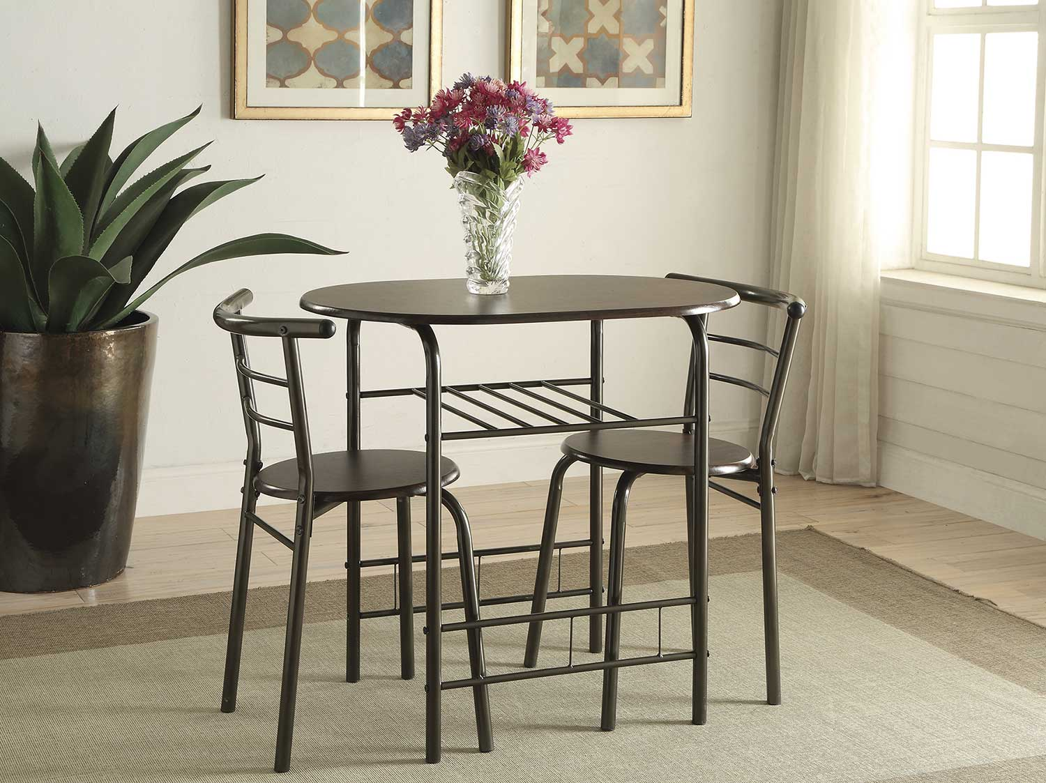 Coaster 150128 3 PC Dinette Set - Brown