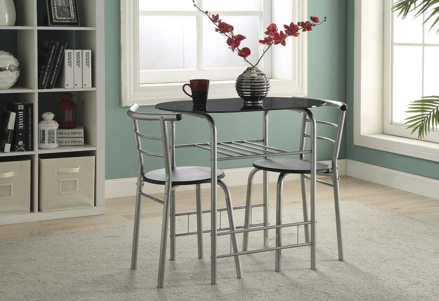 Coaster 150129 3 PC Dinette Set - Black/Silver
