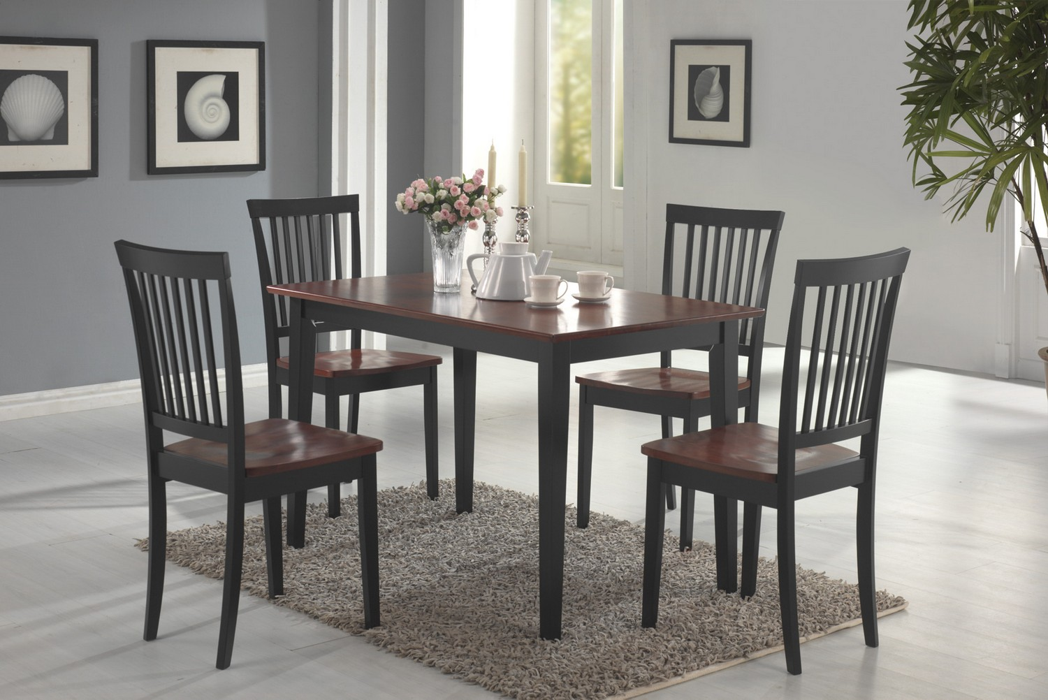Coaster 150153 5-Piece Dining Set - Tobacco/Blac