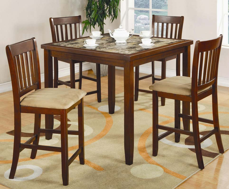 Coaster normandie 5 piece square counter height dining set for Square dinette sets