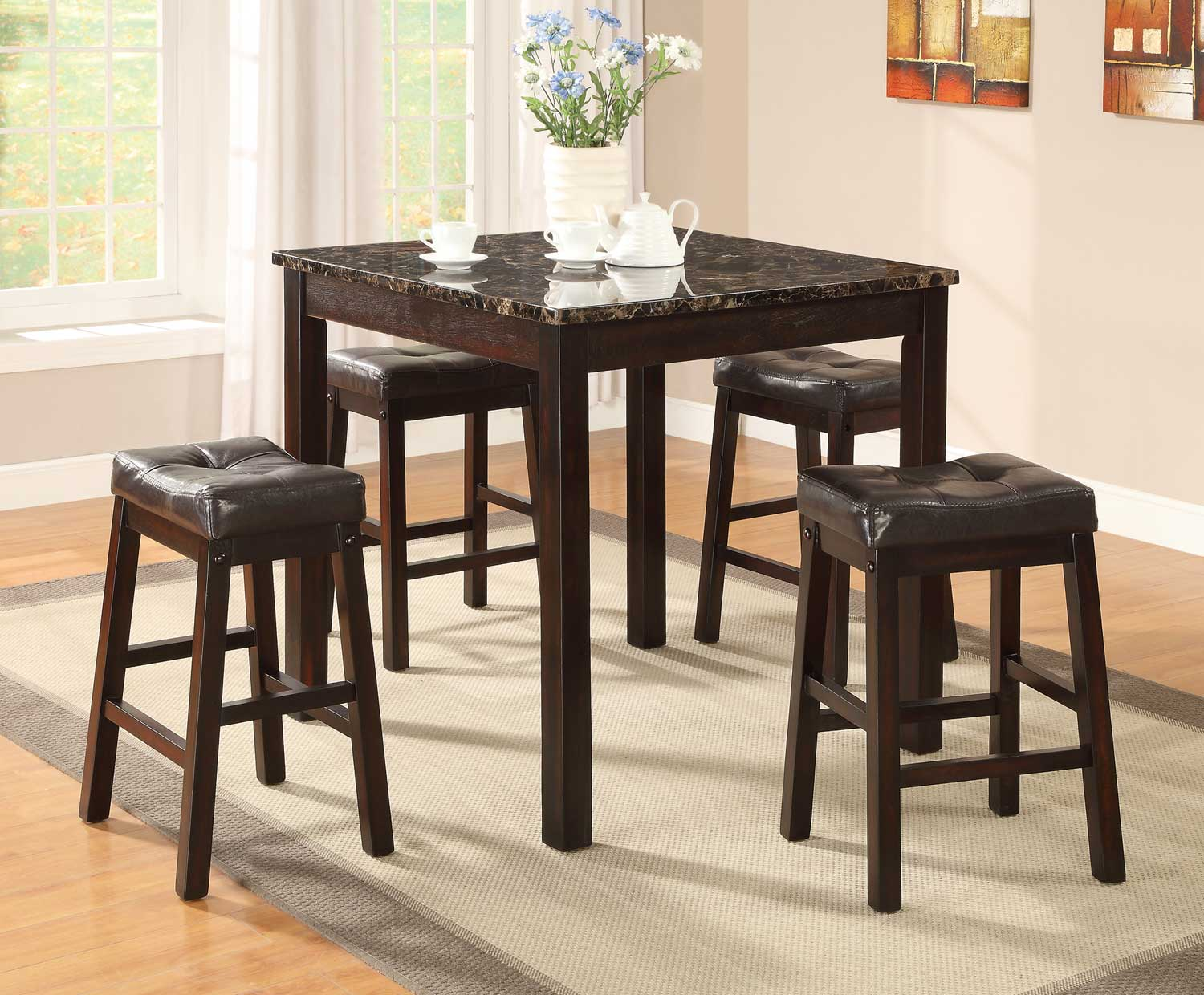 Coaster Sophia 5 Pack Counter Height Dinettes - Cappuccino