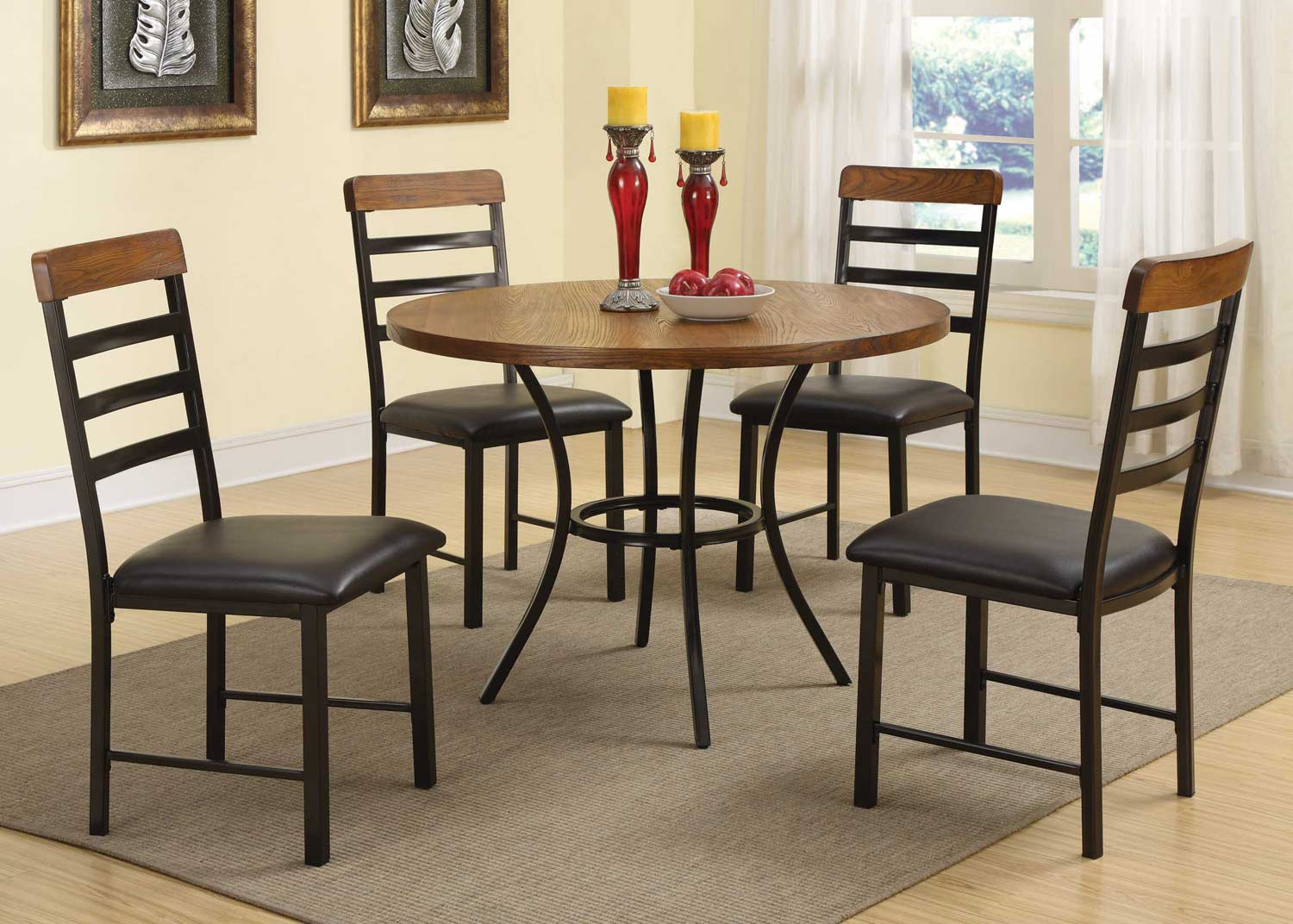 coaster noah 5 piece dining set dark brown 150164