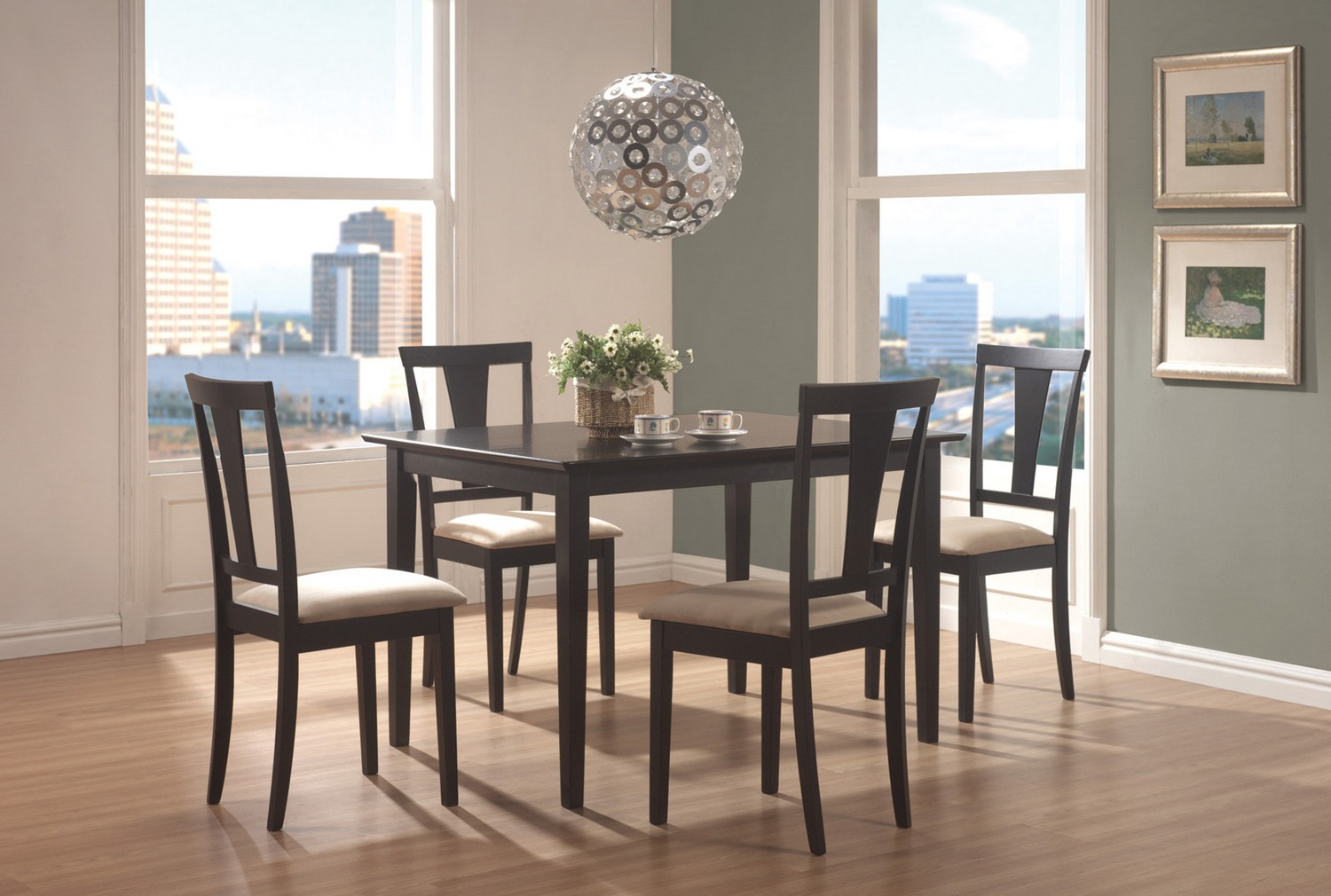 Coaster 150181N 5-Piece Dining Set - Black/Beige Microfiber Fabric