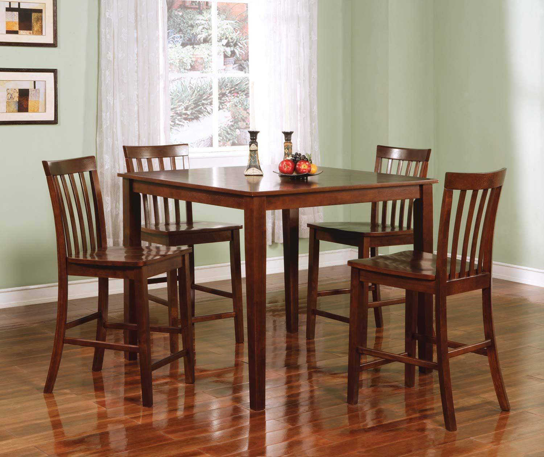Coaster 150231WLN 5PC Counter Height Dining Set - Walnut