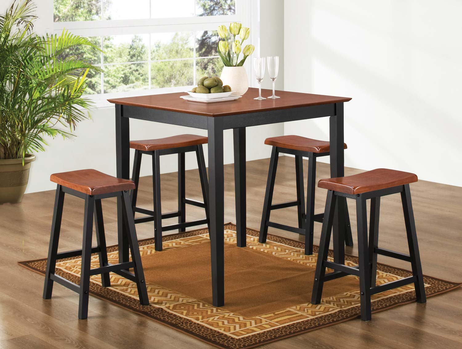 Coaster 150293N 5PC Counter Height Dining Set - Oak and Black