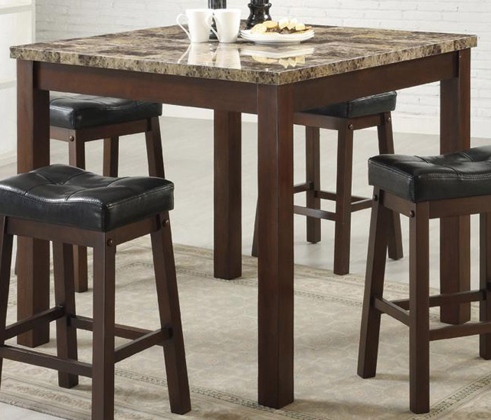 Coaster Sofie 5 Piece Square Marble Look Counter Height Dining Set