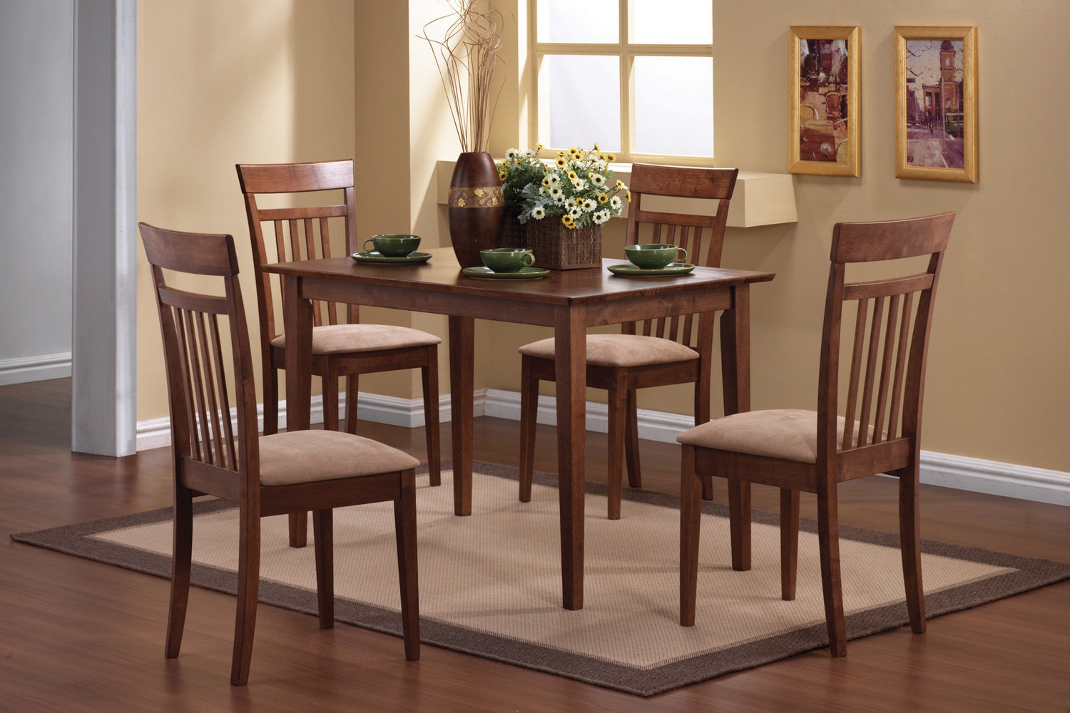 Coaster 150430 5-Piece Dining Set - Chestnut/Beige Fabric