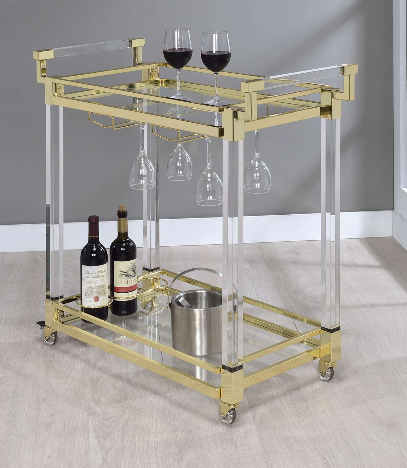 Coaster 181000 Serving Cart - Clear Acrylic/Brass