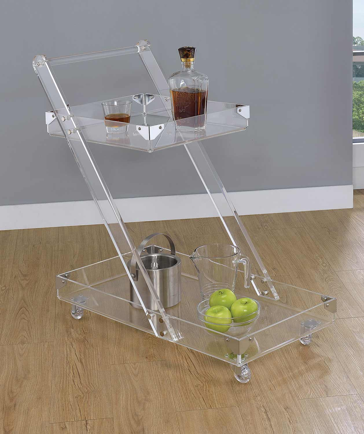 Coaster 181002 Serving Cart - Clear Acrylic/Chrome