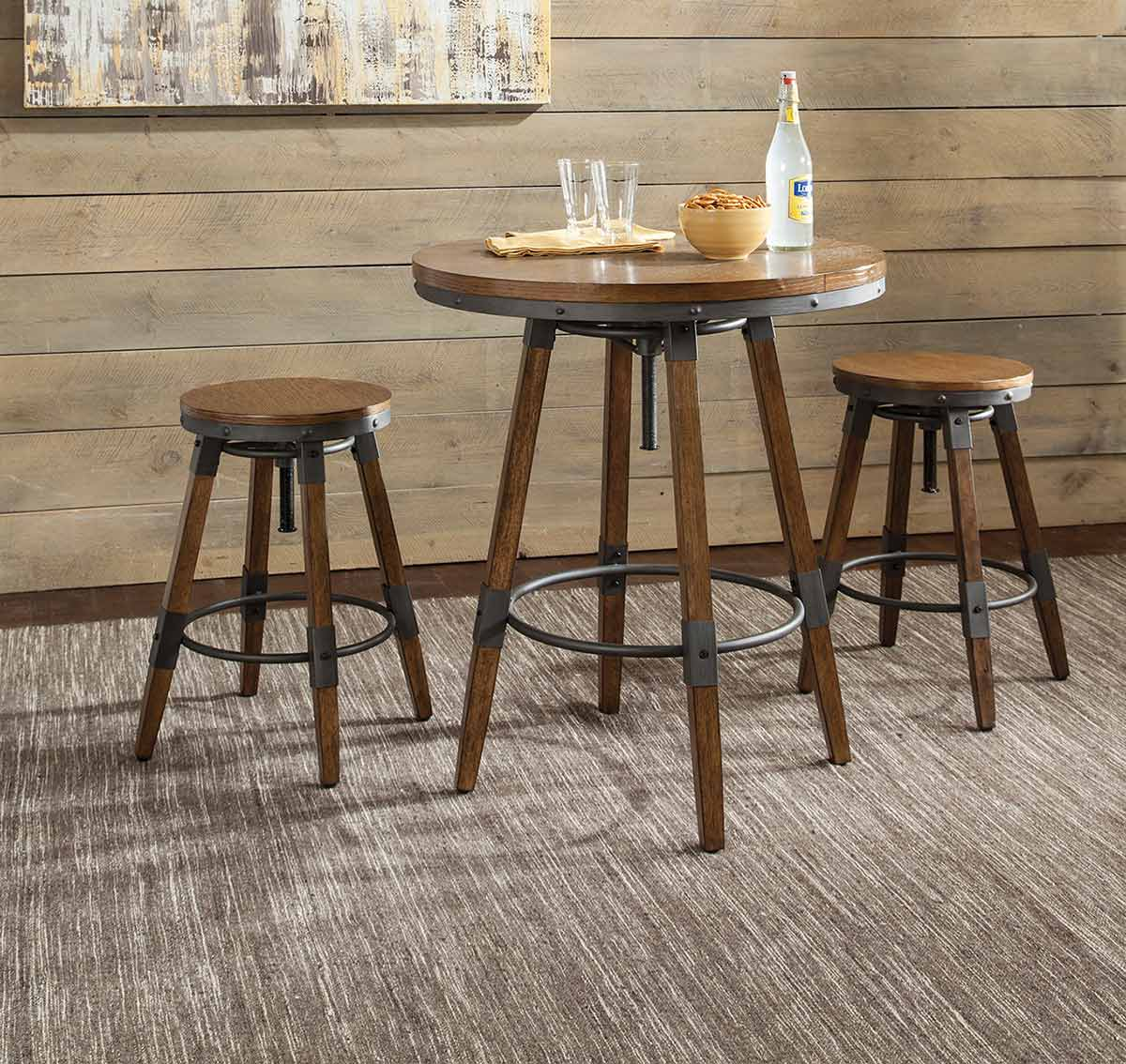 Coaster Hornell Counter/Bar Dining Set - Weathered Oak/Gunmetal