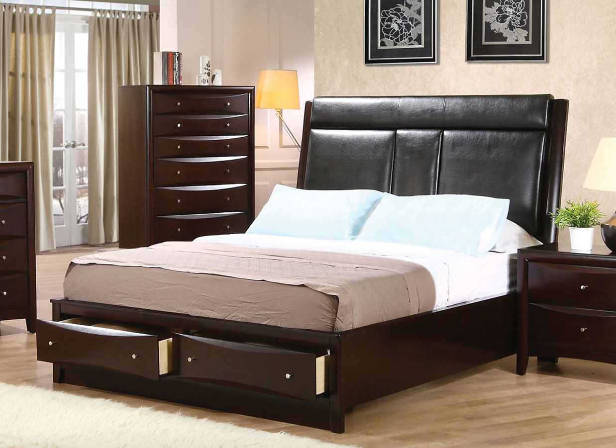 Coaster Phoenix Upholstered Storage Bed - Deep Cappuccino