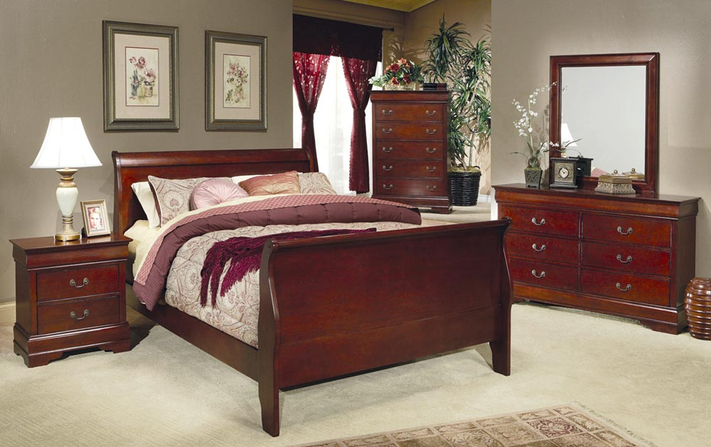 Coaster Louis Philippe Cherry Sleigh Bedroom Set 200431 BED SET At Homelement