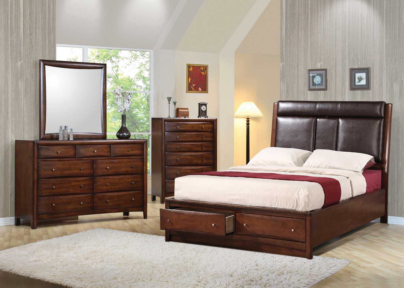 Coaster Hillary Upholstered Storage Bedroom Set - Warm Brown