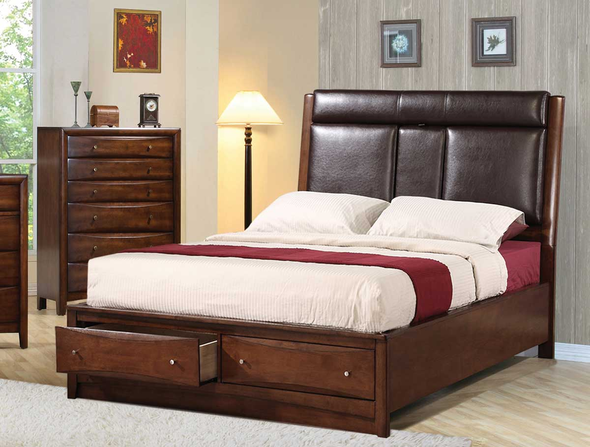 Coaster Hillary Upholstered Storage Bed - Warm Brown