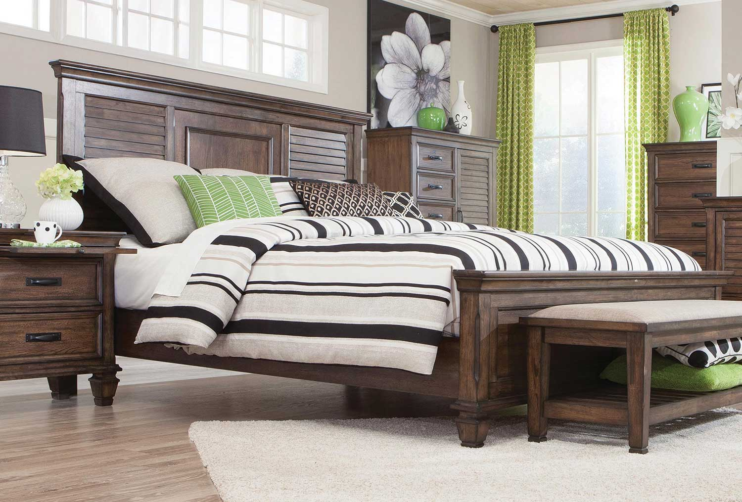 Coaster Franco Low Profile Bed - Burnished Oak