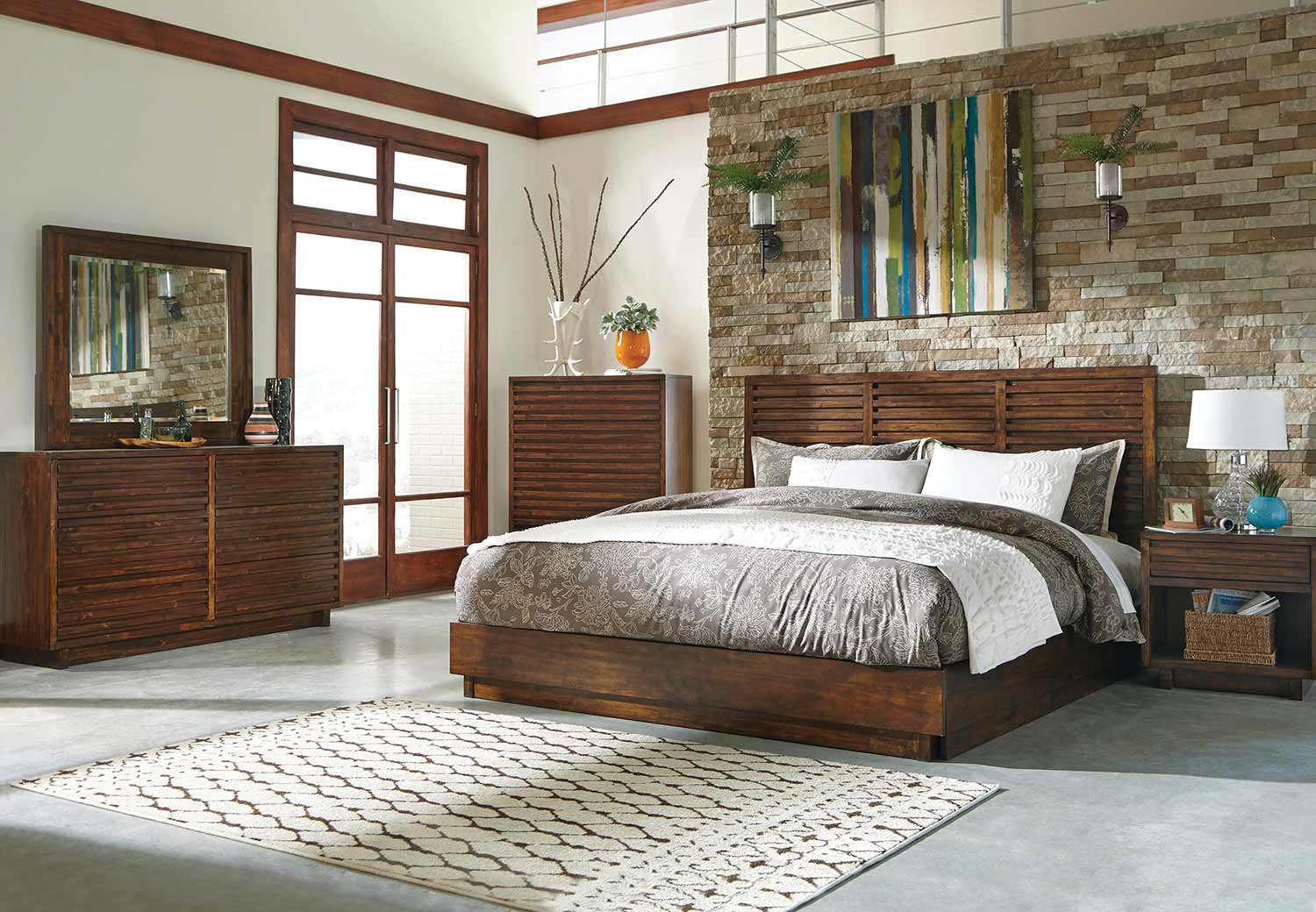 Coaster Avery Platform Bedroom Set - Bourbon