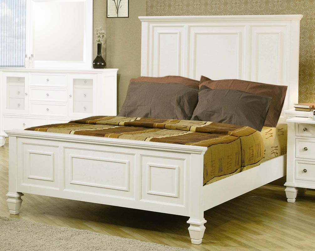 coaster sandy beach light low profile panel bedroom set 201301 bed set