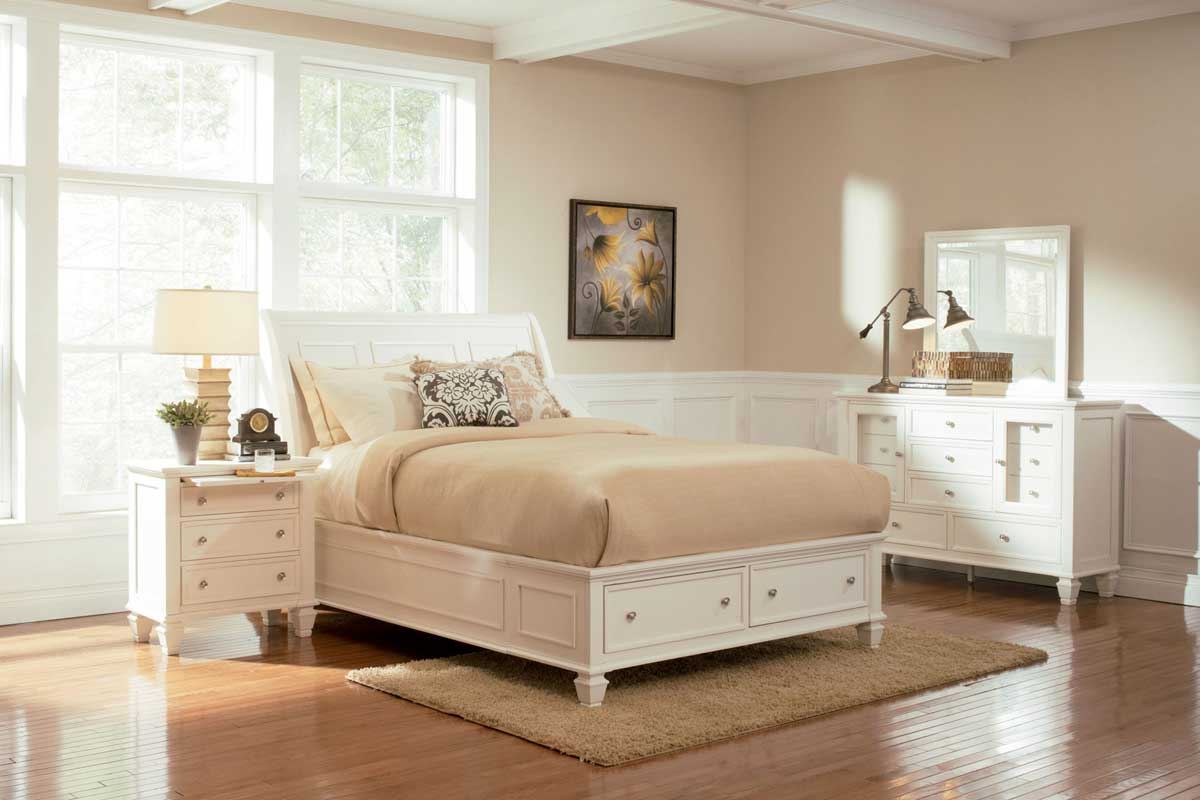 coaster sandy beach light platform storage bedroom set 201309 bed set at
