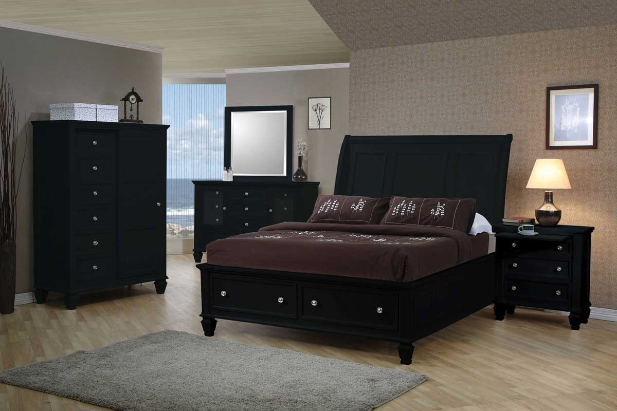 dark platform storage bedroom set 201329 bed set
