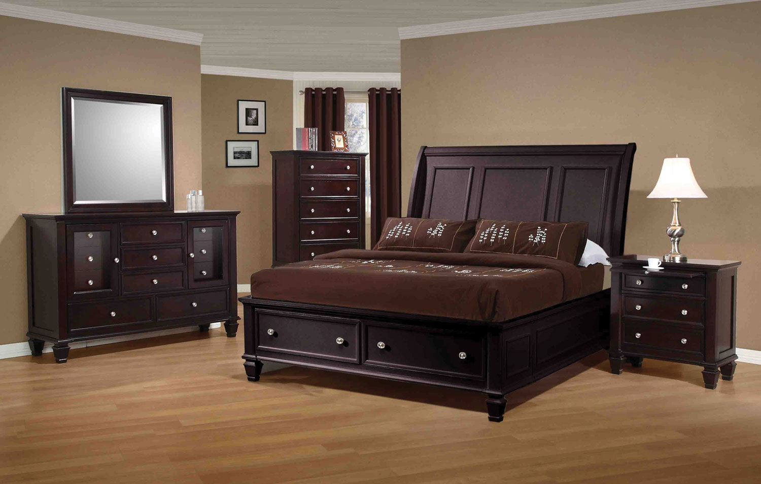 Coaster Sandy Beach Bedroom Set - Cappuccino 201990-BedSet at ...