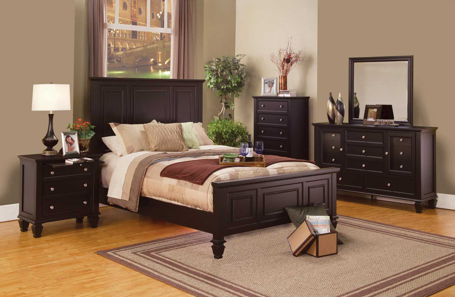 sandy beach panel bedroom set cappuccino