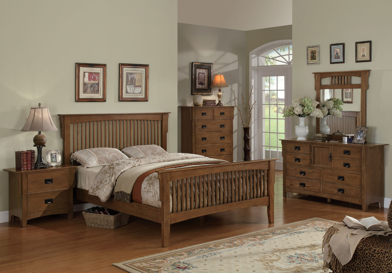 Coaster Georgia Mission Bedroom Set - Medium Oak