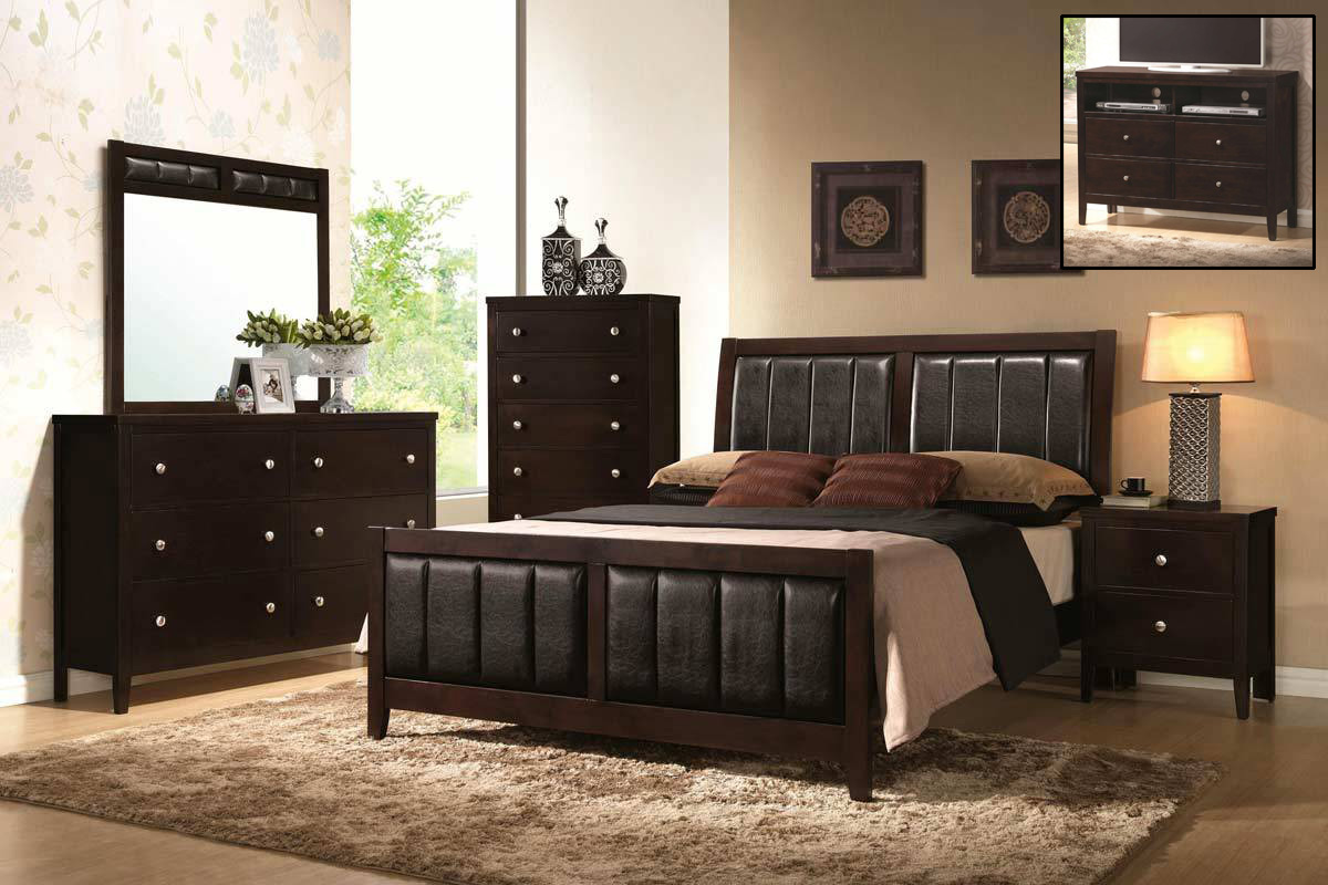 Coaster Carlton Upholstered Bedroom Set Cappuccino Bed Set at Homele