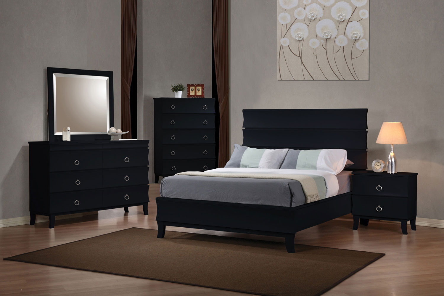 Coaster Holland Low Profile Panel Bedroom Set - Black