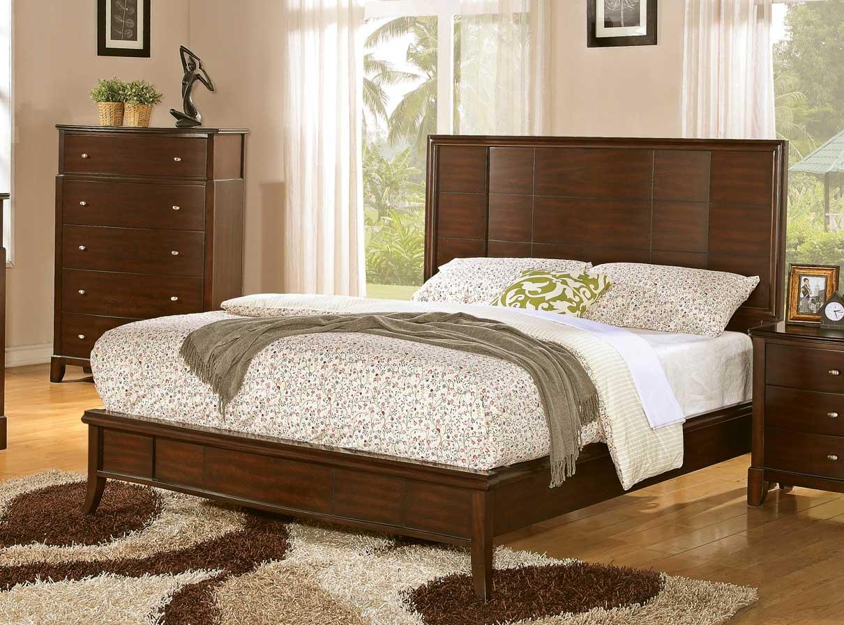 Coaster Addley Low Profile Panel Bed - Dark Cherry