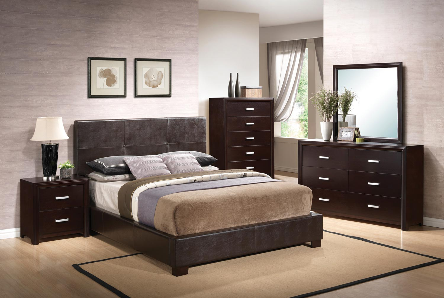 Coaster Andreas Vinyl Upholstered Low Profile Bedroom Set - Cappuccino