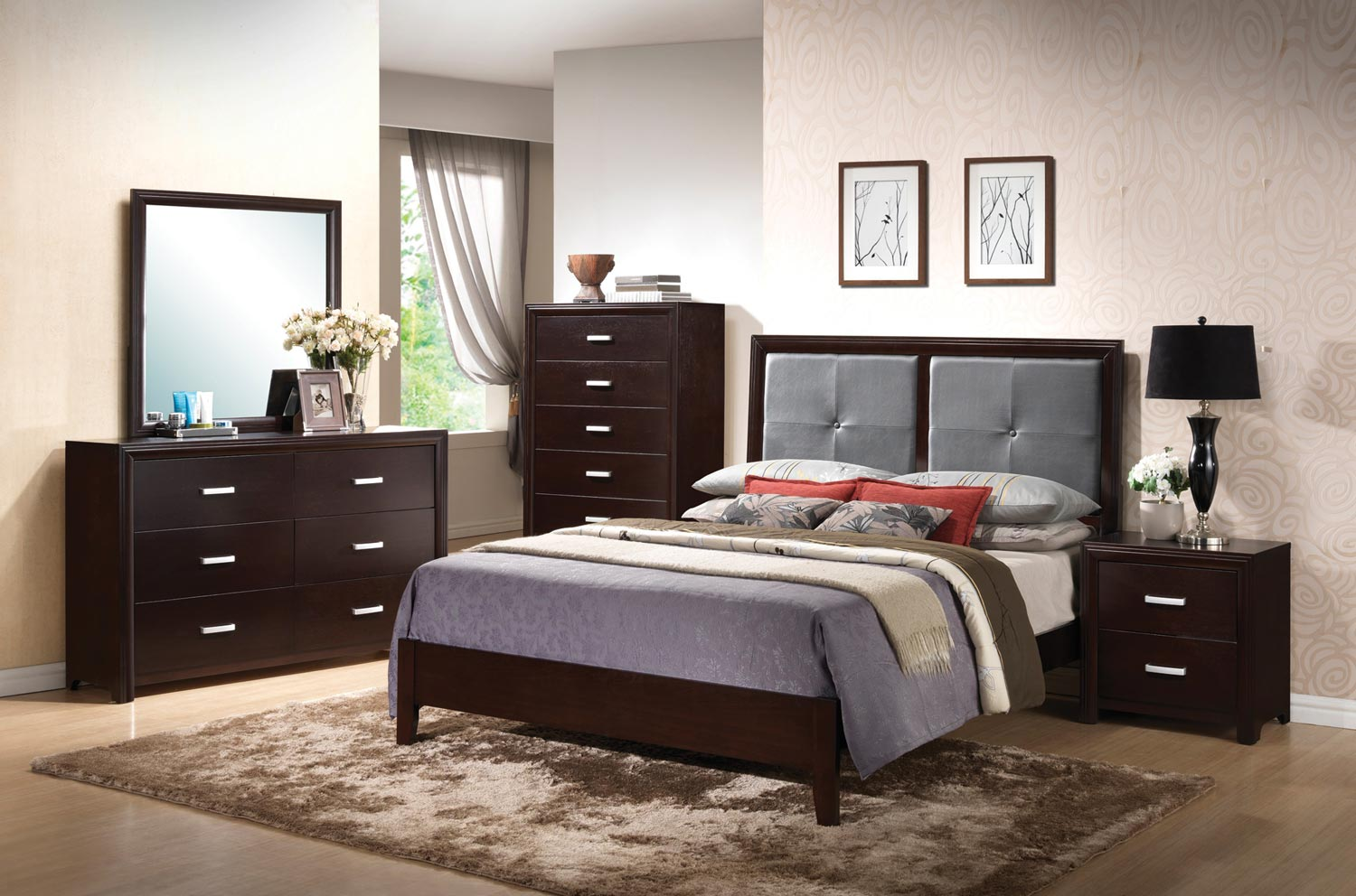 Coaster Andreas Fabric Upholstered Low Profile Bedroom Set - Cappuccino
