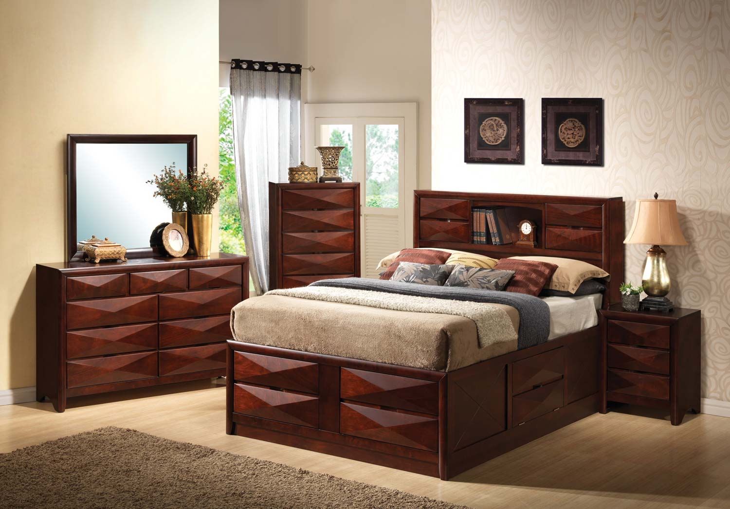 Coaster Bree Bookcase Storage Bedroom Set - Brown Cherry