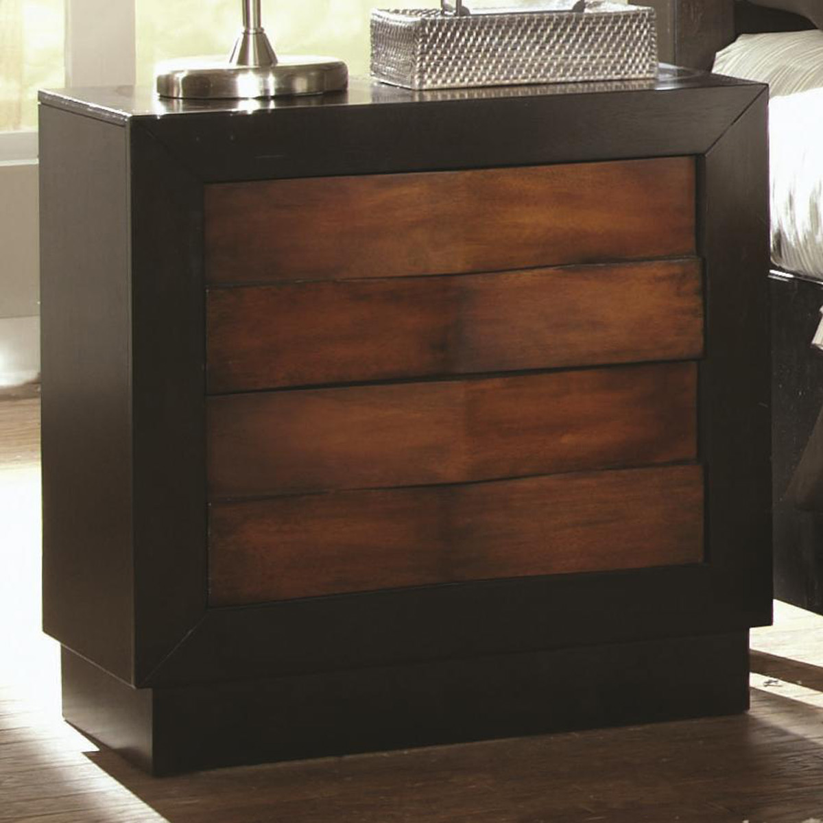 Coaster Rolwing Night Stand - Reddish Oak/Espresso