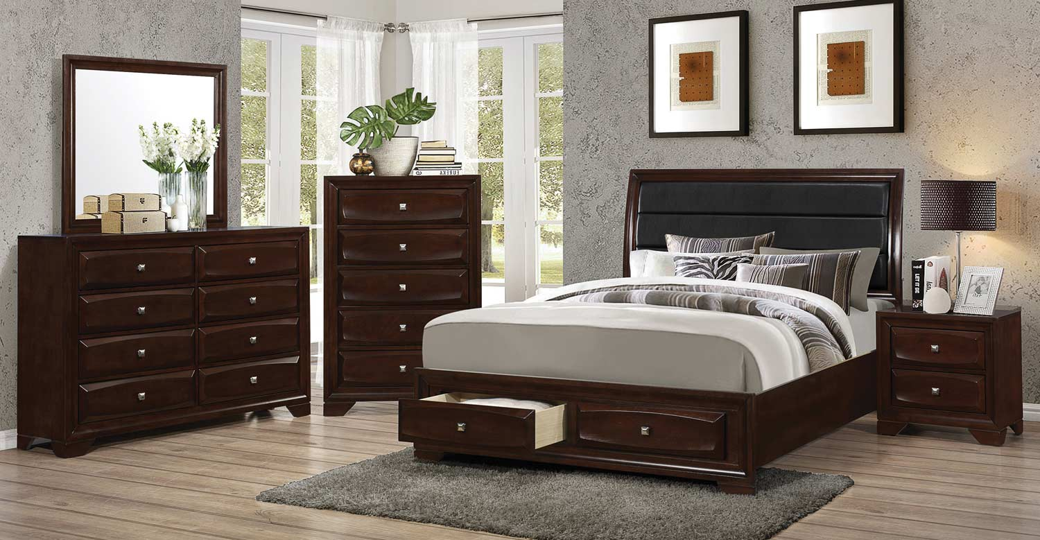 Coaster jaxson bedroom set cappuccino 203481 bed set at for Bedroom furniture for less