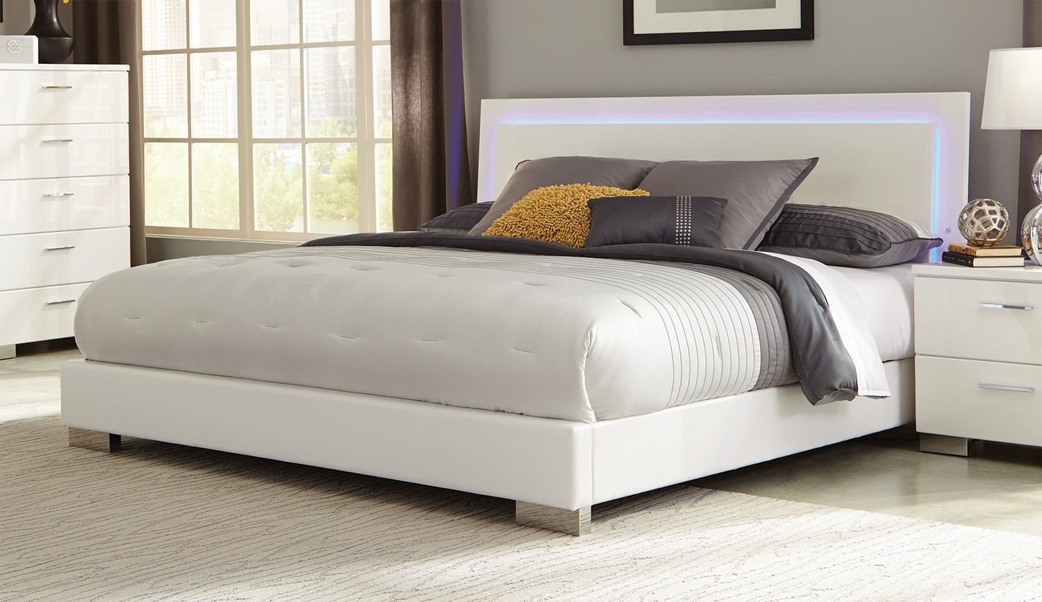 coaster felicity led lighted bed high gloss white 203500