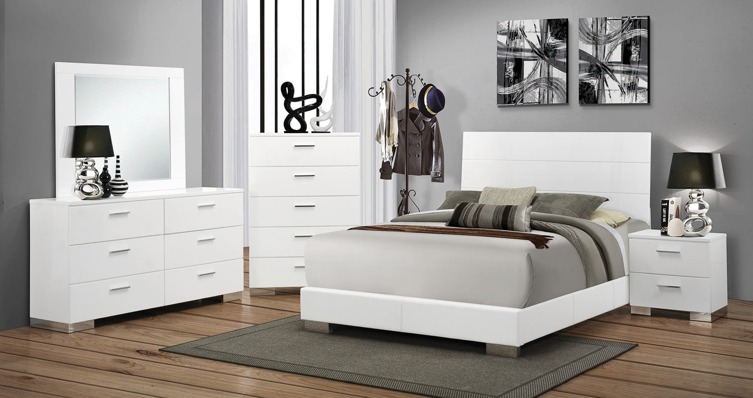 Coaster felicity bedroom set white 203501 bed set at for White bed set furniture
