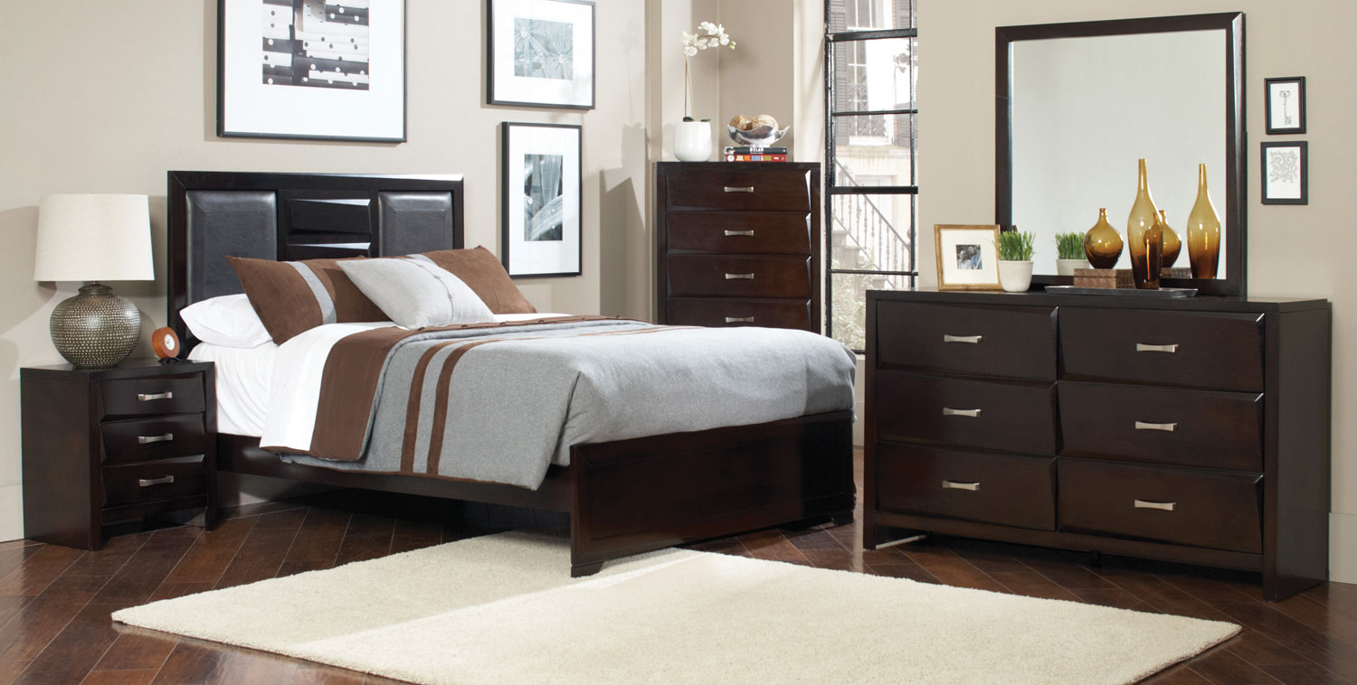 Coaster palmetto bedroom set cappuccino 203551 bed set for Bedroom furniture for less