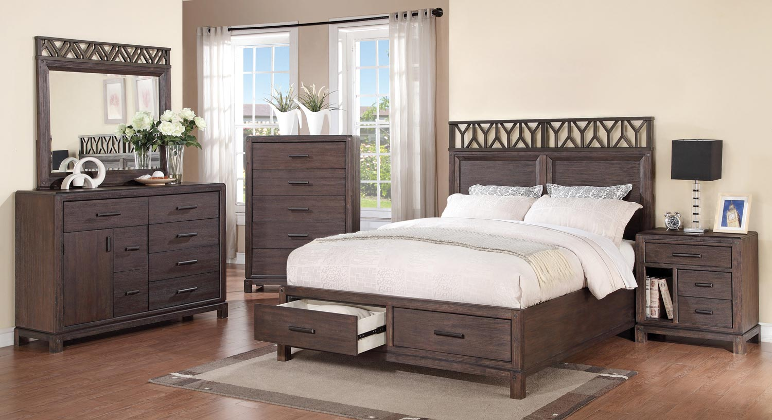 Coaster Grayson Bedroom Set Dark Coffee Bed Set at Homelement