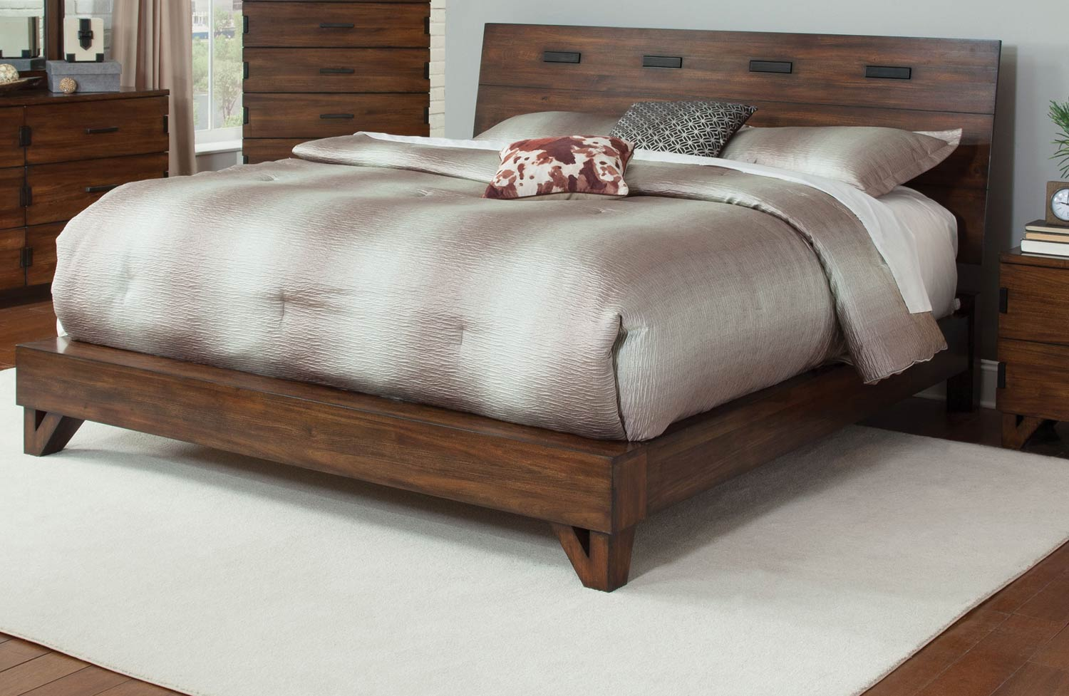 Coaster Avalon Platform Bed - Dark Amber - Coffee Bean