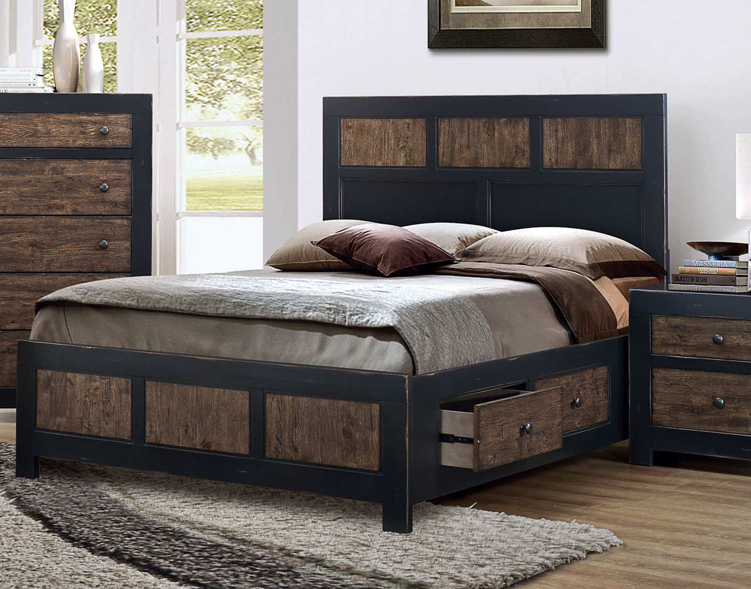 Coaster Segundo Storage Platform Bed - Antique Oak Embossed/Sand-through Black