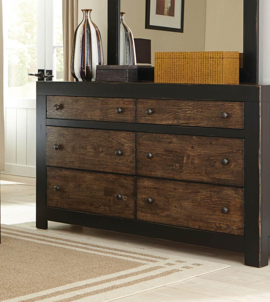 Coaster Segundo Dresser - Antique Oak Embossed/Sand-through Black