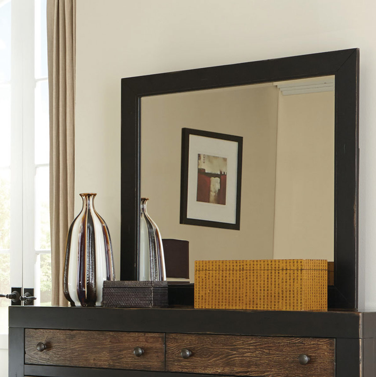 Coaster Segundo Mirror - Antique Oak Embossed/Sand-through Black