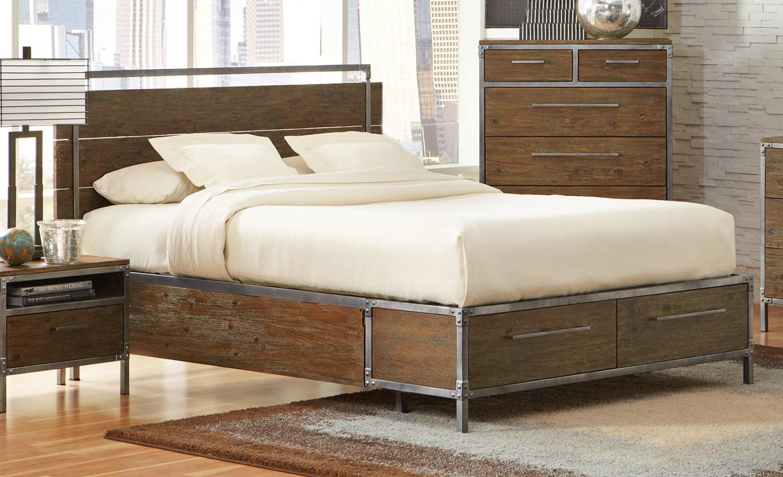 Coaster Arcadia Platform Panel Storage Bed - Weathered Acacia
