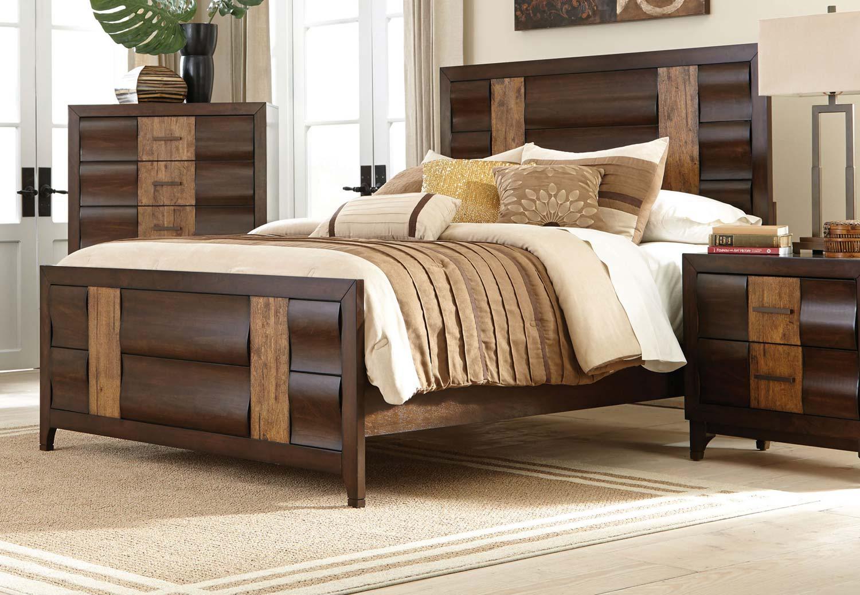 Coaster Dublin Bed - Brown Oak/Dark Forest