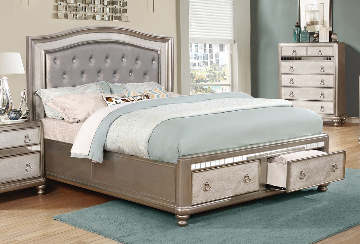Coaster Bling Game Bed - Metallic Platinum